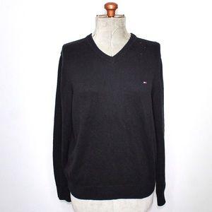 Tommy Hilfiger Black Knit Golf V Neck Sweater LG